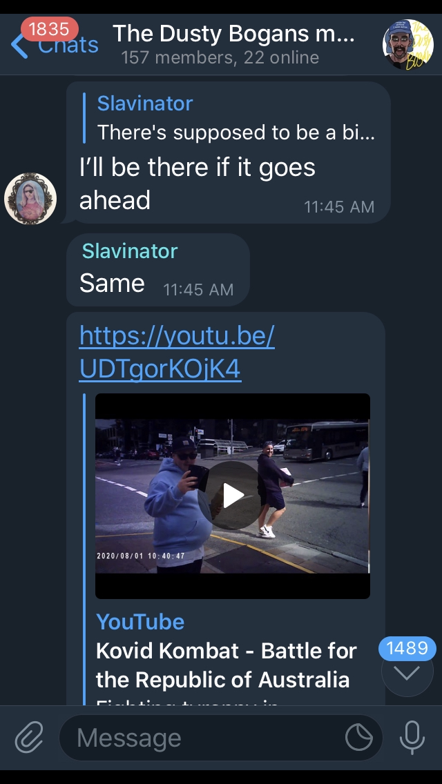 Screenshots continued. Mary responds to Slavinator, I'll be there if it goes ahead. Slavinator says, same, and links a youtube video called Kovid Kombat, Battle for the republic of Australia...