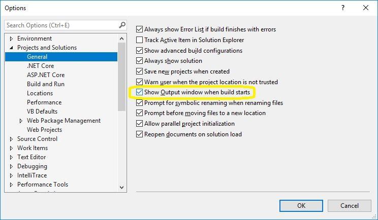 Output Window Setting in Visual Studio