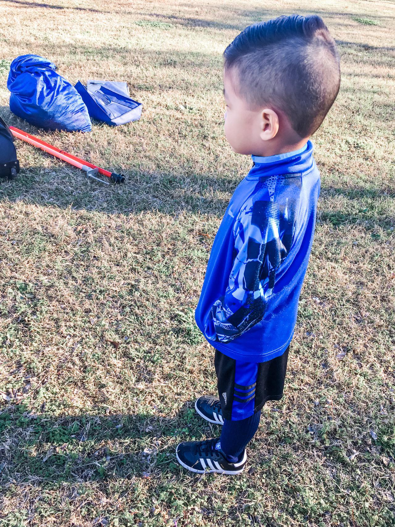 Davin waiting for soccer class to start