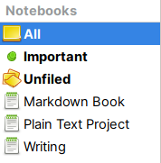 Notebooks in Gnote