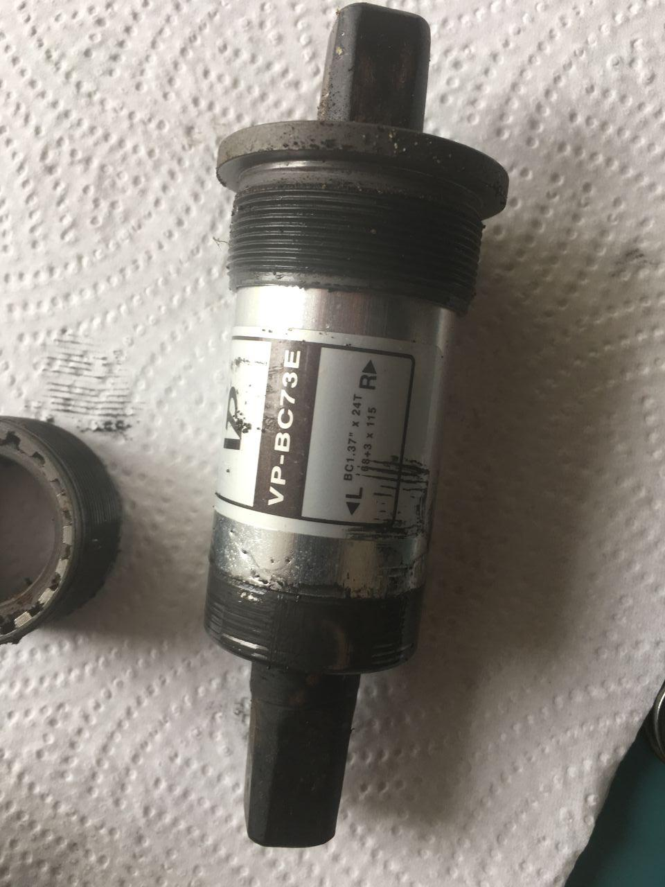 Sealed bottom bracket removed from bicycle