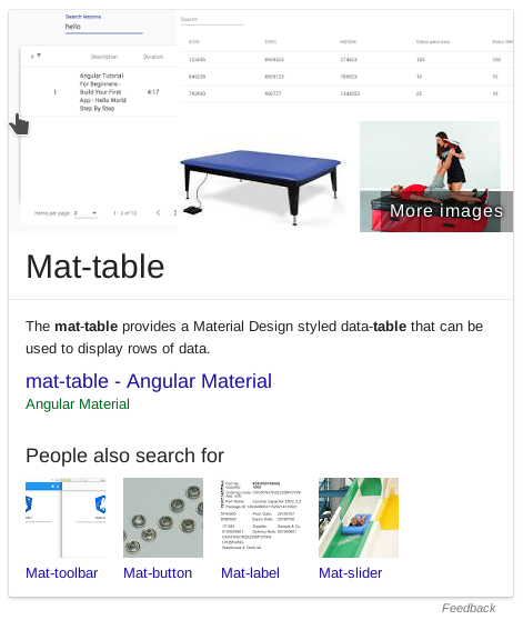 A feature about mat-table from Angular Material, complete with images of tables with mat on.