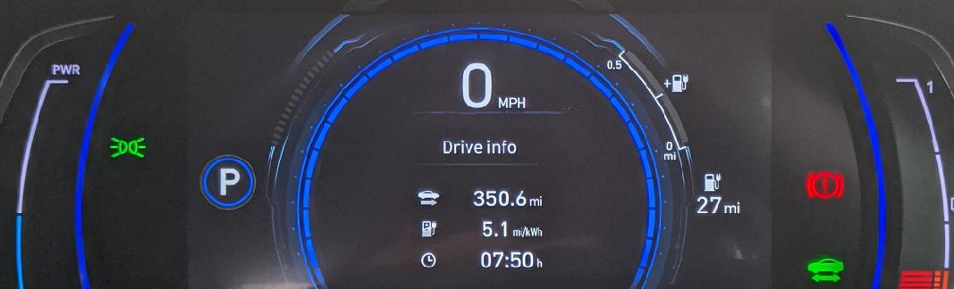 Car display showing 350.6miles travelled, 5.1mi/kWh efficiency, 7 hours 50 minutes of travel time and 27 miles of range left.