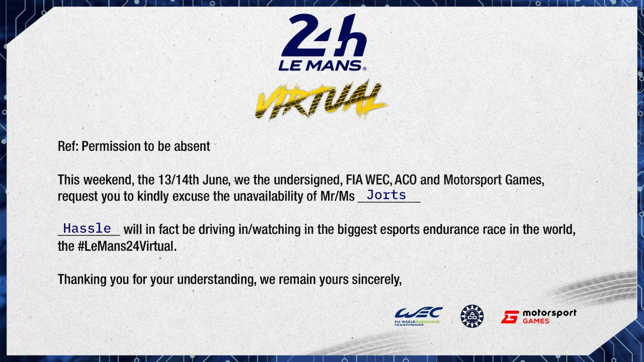 Request of Absence - 24 Hours of Le Mans Virtual