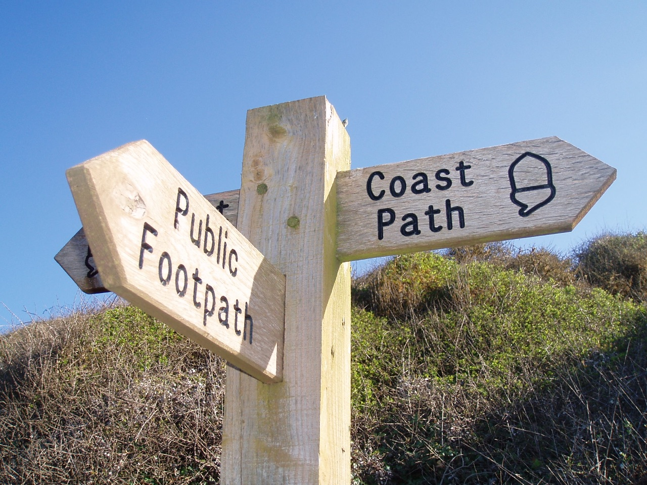 A signpost on the South West Coast Path national trail