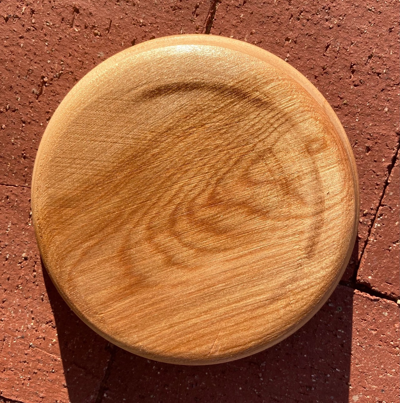 Turned birch bowl, bottom view