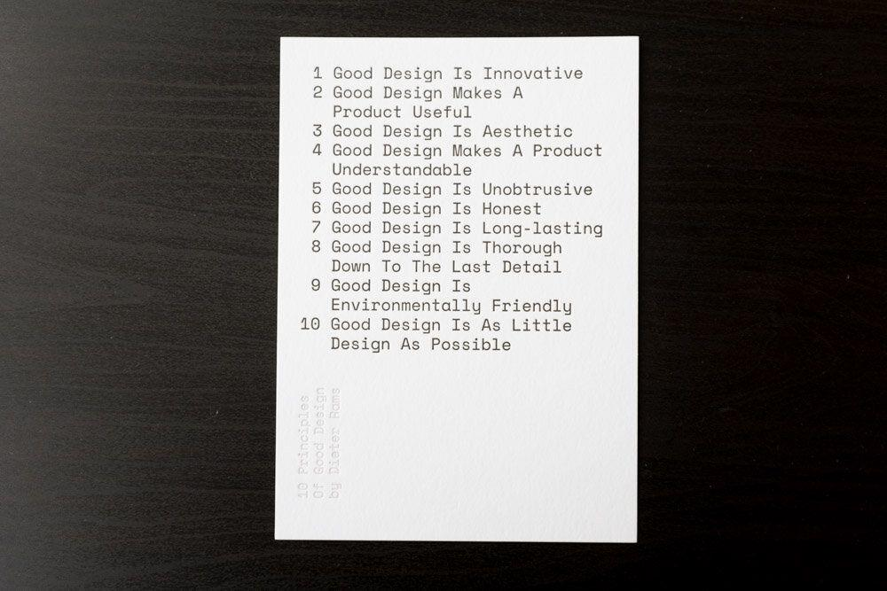 10 principles of good design, by Dieter Rams
