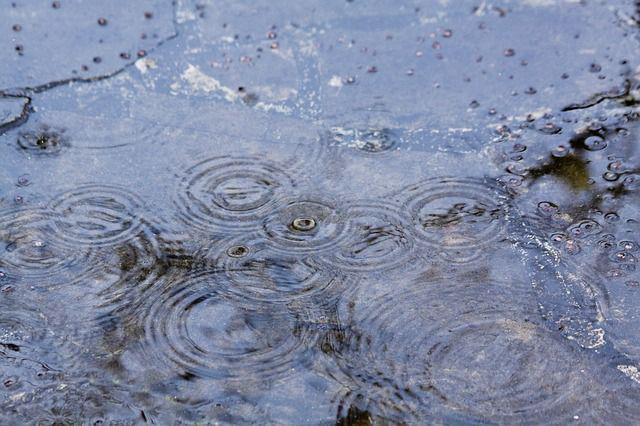 Raindrops hitting the ground