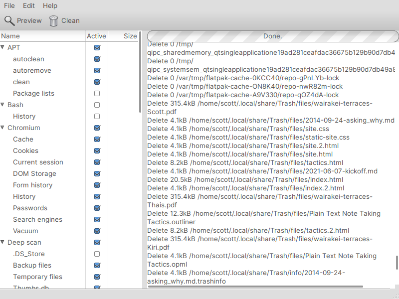 Getting ready to clean up files with BleachBit