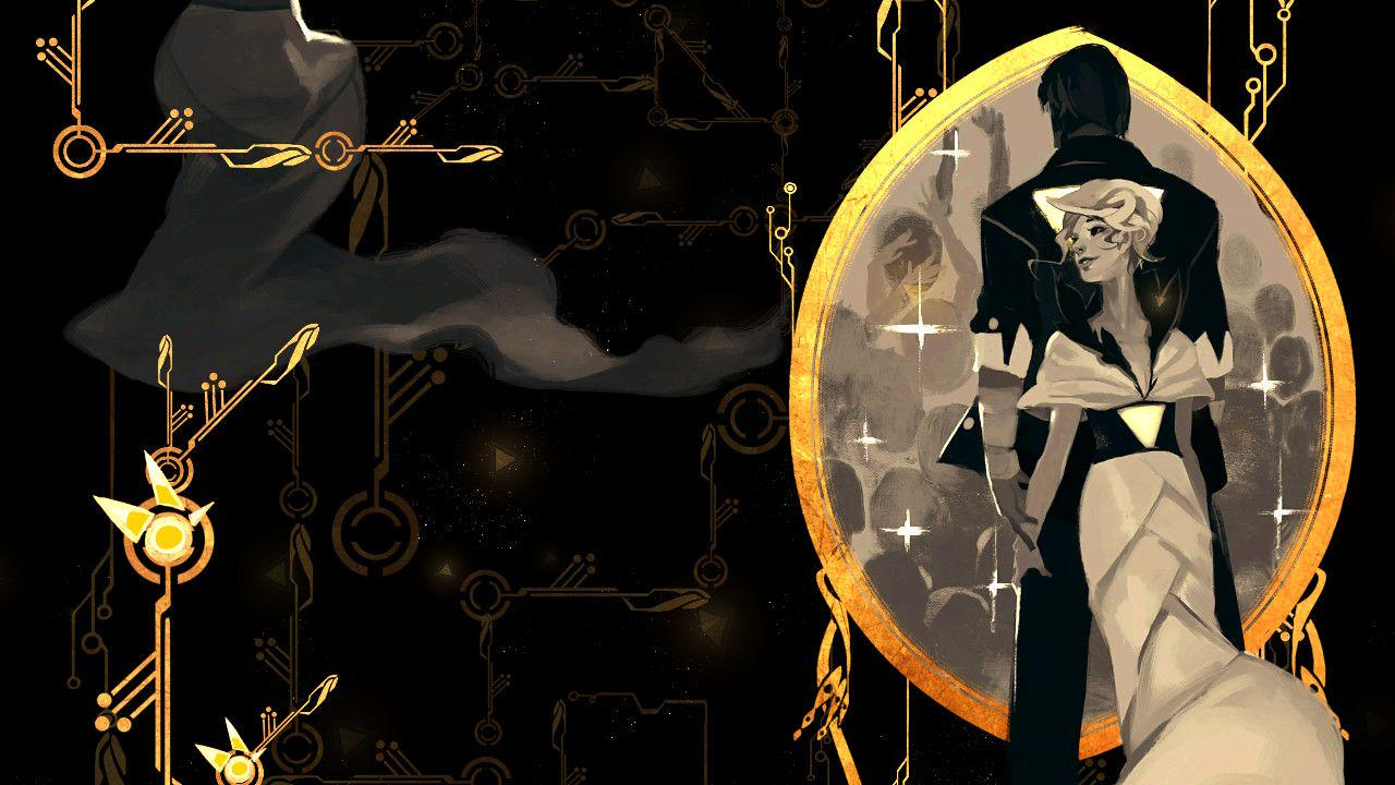 Red and her beloved, back to back. Their silhouettes a scheme of white, grey, and black. Around them is a mirror like border, cloaked in gold with wire like lines stemming vertically from the top and bottom. A black cloudy background lurks behind, with similar faint gold electrical lines every so lightly noticeable. To the left side of the image, there are more prominent gold wiring,  protruding out from the edges of the photo.