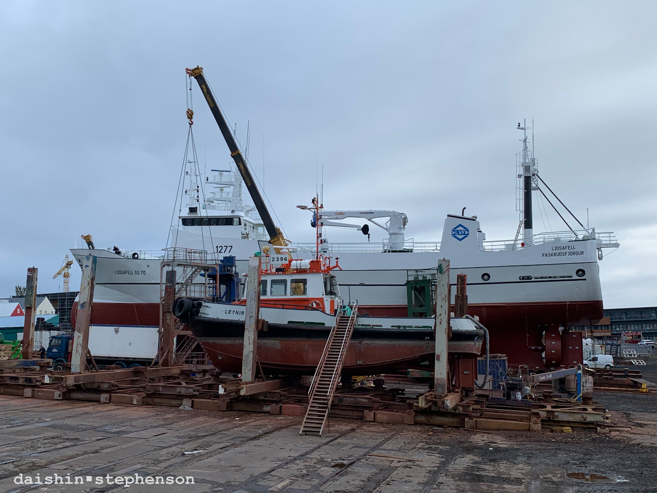 two boats in dry dock