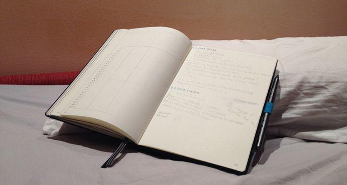 a planner with notes