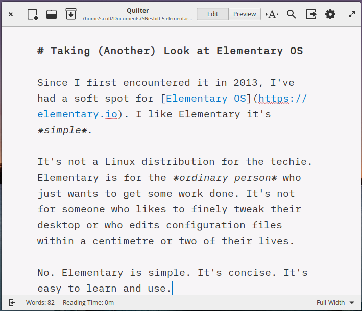 An app in Elementary OS, with no menu bar