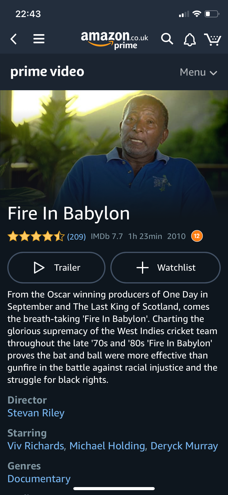 Screenshot of a webpage about Fire in Babylon