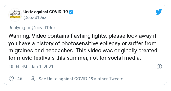 Screenshot of a tweet by covid19nz, dated 10.04 PM Jan 1 2021, with the text, Warning Video contains flashing lights.