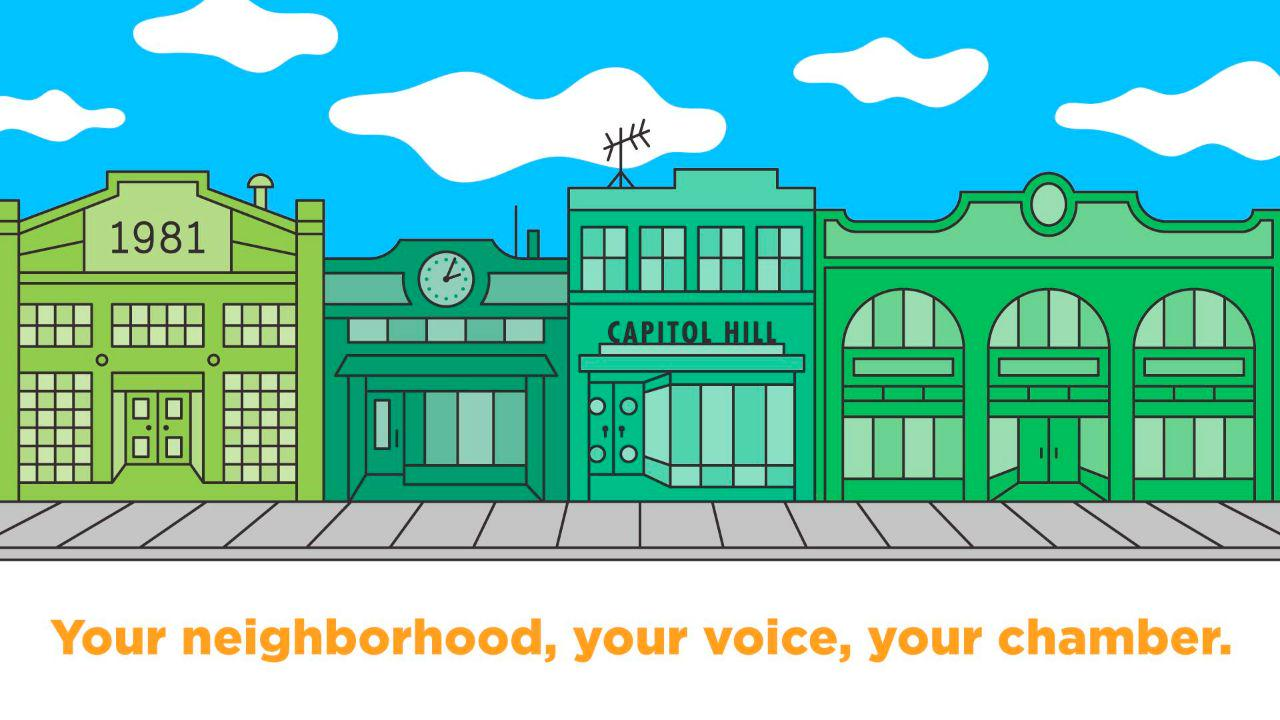 Capitol Hill Business Alliance Logo with Streetscapes drawing of Capitol Hill