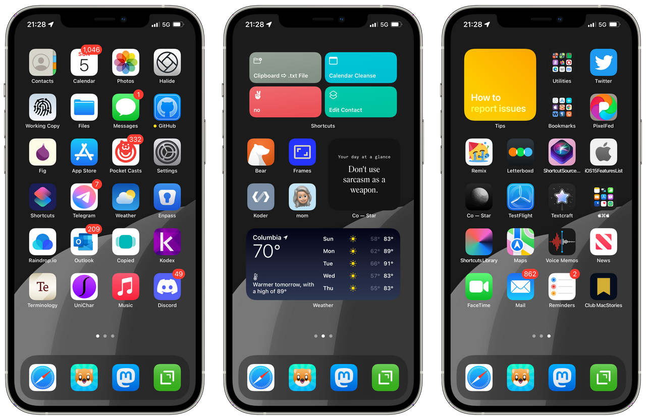 Testing Home Screens for iOS 15