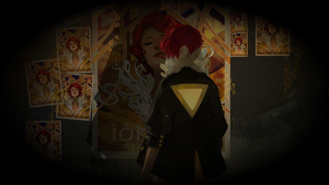 Red's back is turned from the viewer. She is looking at posters from her concert that was interrupted by the disaster, plastered all over the wall. Her shadow falls directly on the face of the largest poster.