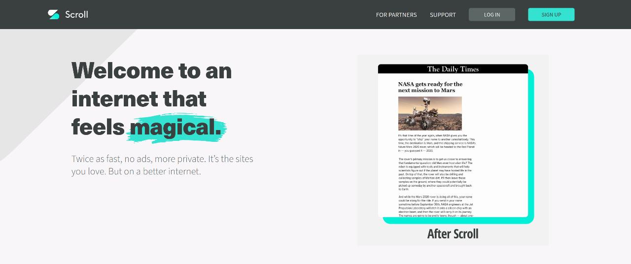 Scroll Homepage