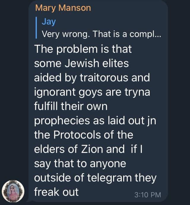Mary Manson replies to Jay, saying, The problem is that some Jewish elites aided by some traitorous and ignorant goys are tryna fulfill their own prophecies as laid out jn the Protocols of the elders of Zion and if I say that to anyone outside of telegram they freak out.