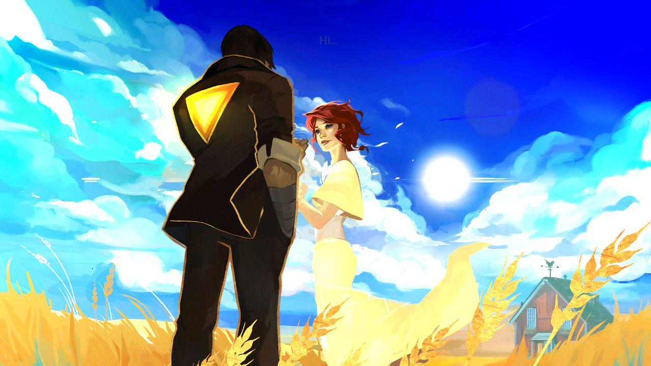 Red and her love stand in a golden field. The background filled with layers of blue and white clouds, opening up to a deep blue, clear sky. The sun shines down brightly in the middle of it all, burning brightly. Red is smiling, one of the few times you see her smile in the whole story. Her arm is reaching out to her love, who is all dressed in black, with a glowing gold triangle on the back of his blazer styled top. She herself is in a pastel yet still bright yellow. You can almost feel the warmth of the sun radiating out of the photo.