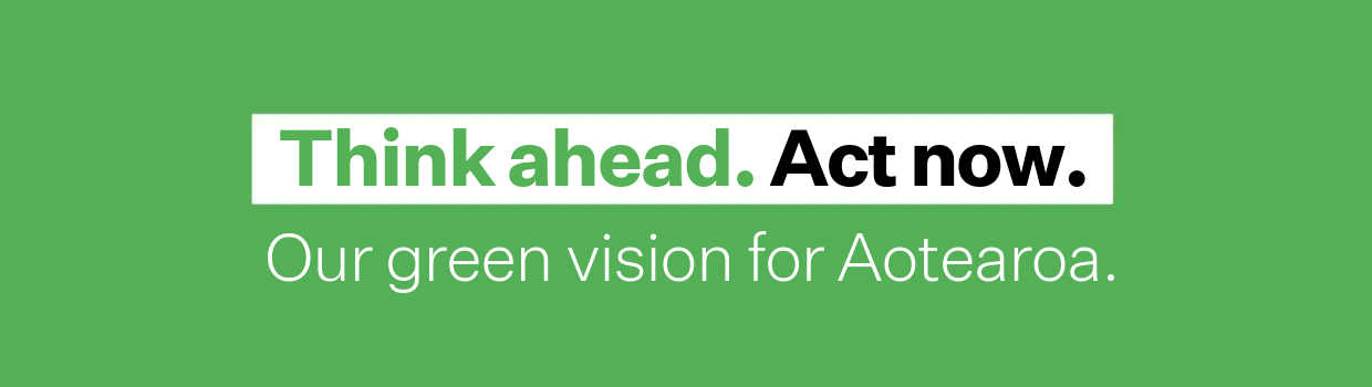 A minimal graphic of text on a green background, that reads 'Think ahead', 'Act now', followed by the line, 'Our green vision for Aotearoa'