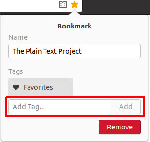 Adding tags to a bookmark in Web