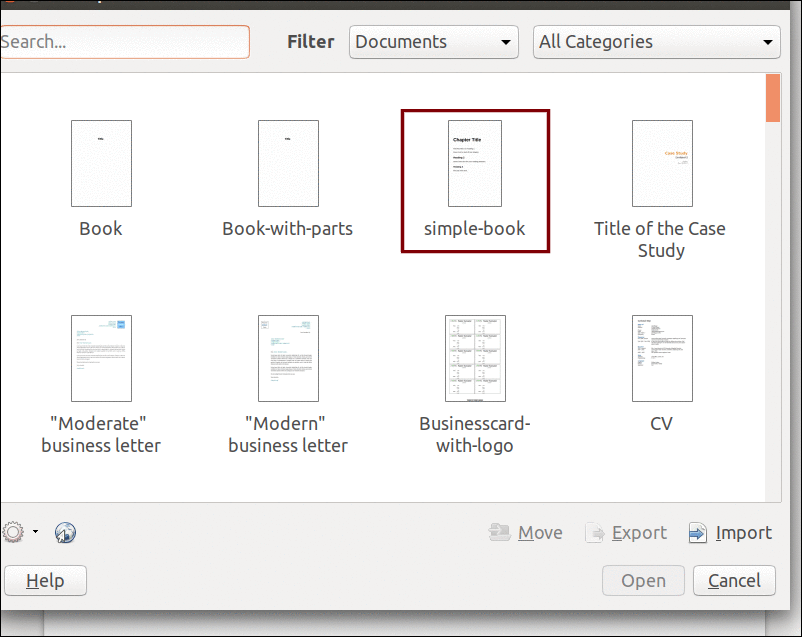 List of templates in LibreOffice Writer