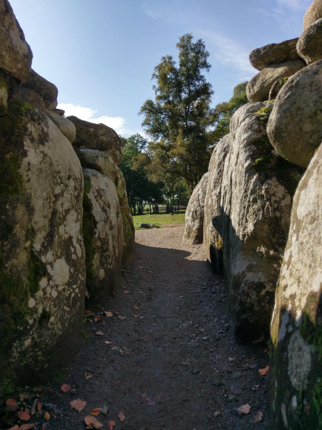 View from inside one of the chambered cairns.