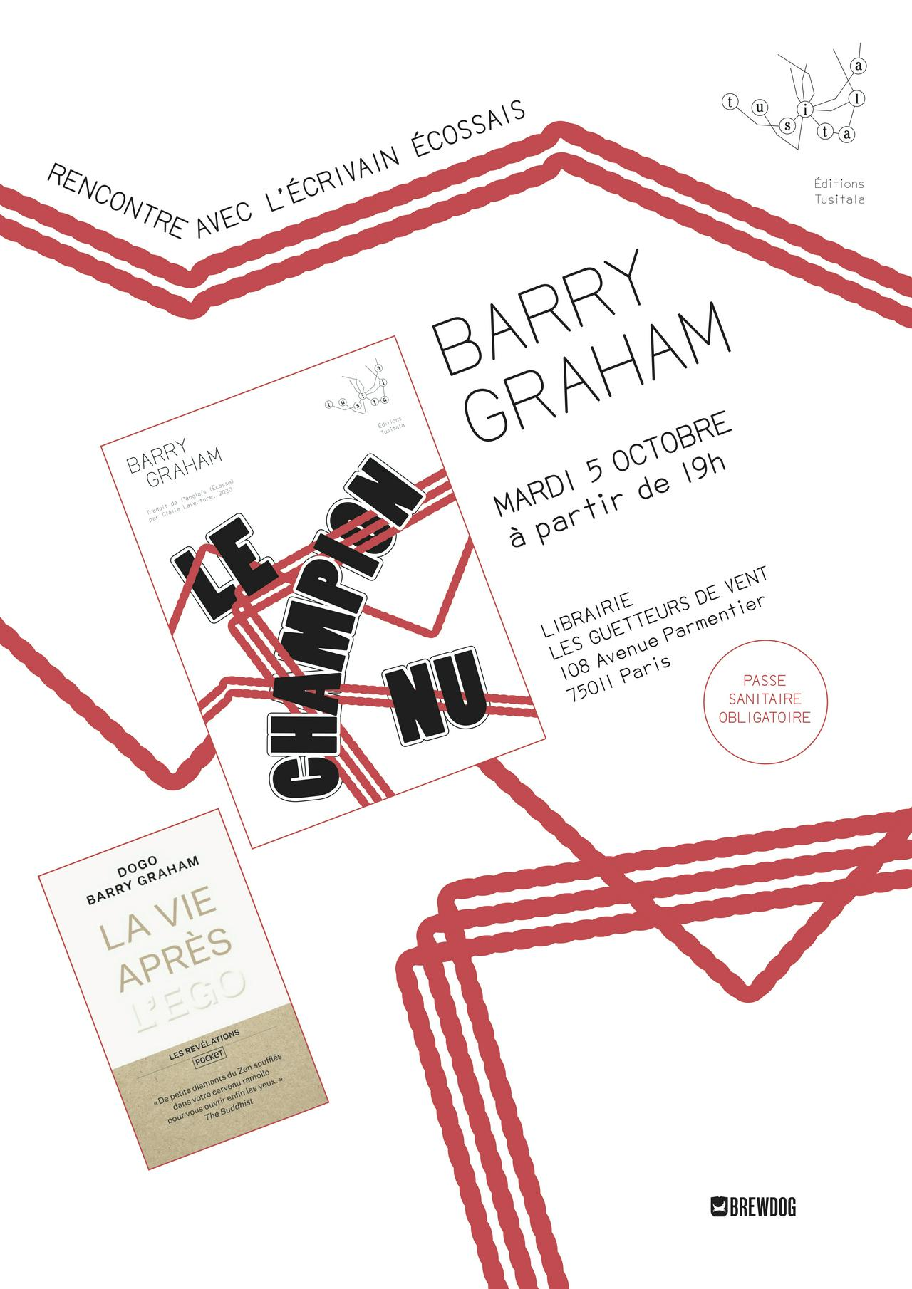 Poster for Barry Graham author event in Paris