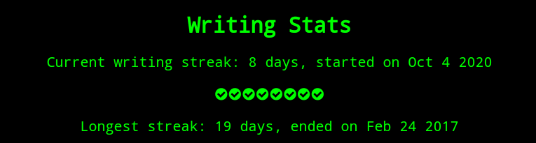 8 day writing streak