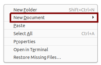 The New Document item under the right-click menu