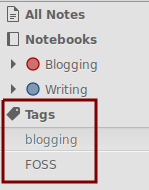 Tags list in Notes-Up