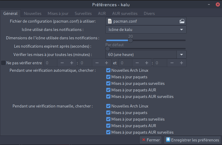 Kalu for Arch Linux - Preferences