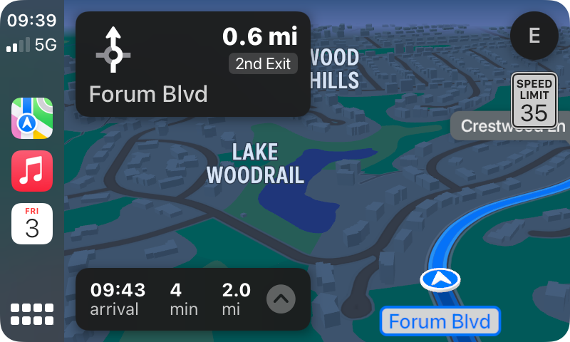Apple Maps Night Navigation