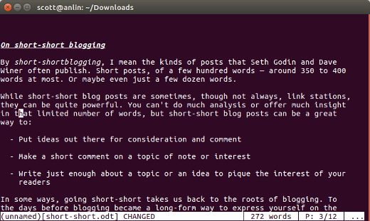 Writing in the terminal with Wordgrinder