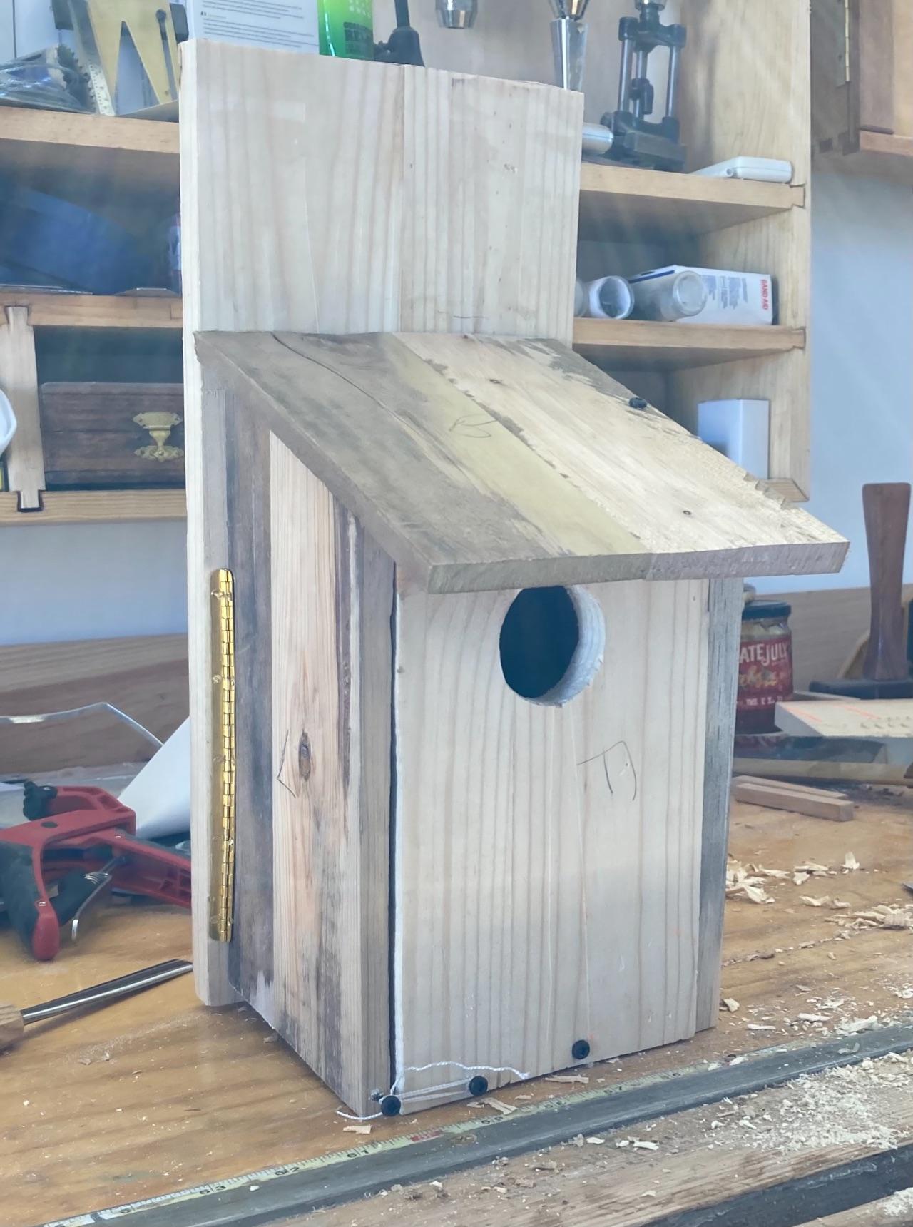 Built birdhouse, in the shop