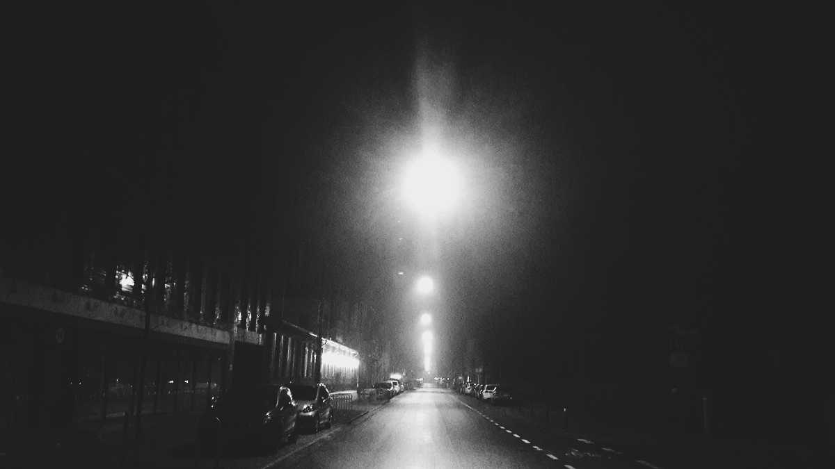 An empty street on one cold night in December.