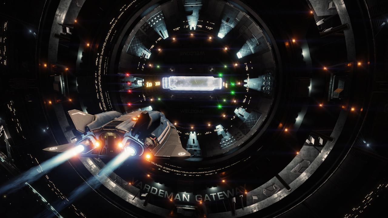 Elite Dangerous - docking into a starport.