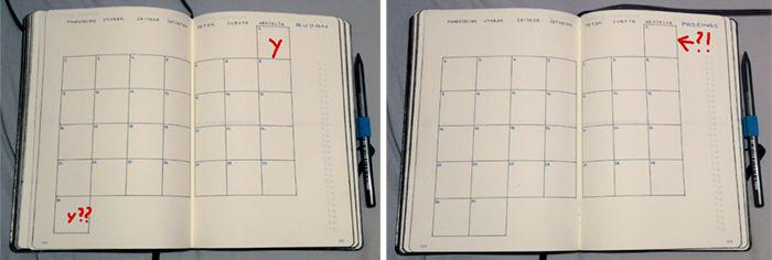 months in grid layout in planner