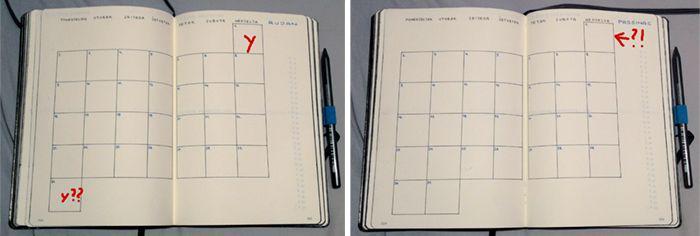 months in grid layout in planner