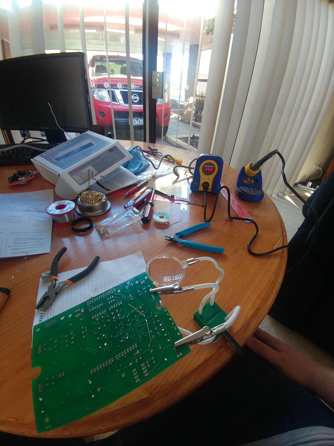 Weekend two of the build with the Hakko FX-888D in the picture