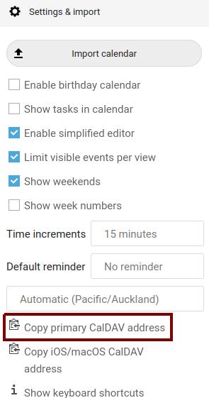 Copying CalDAV settings in Nextcloud Calendar