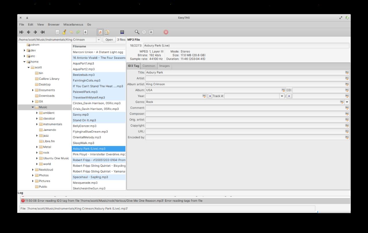Editing audio file metadata with EasyTAG