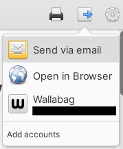 Read-it-later link in the sharing/export menu in Communique