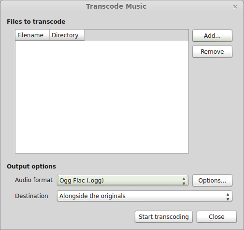 Using Clementine's transcode feature