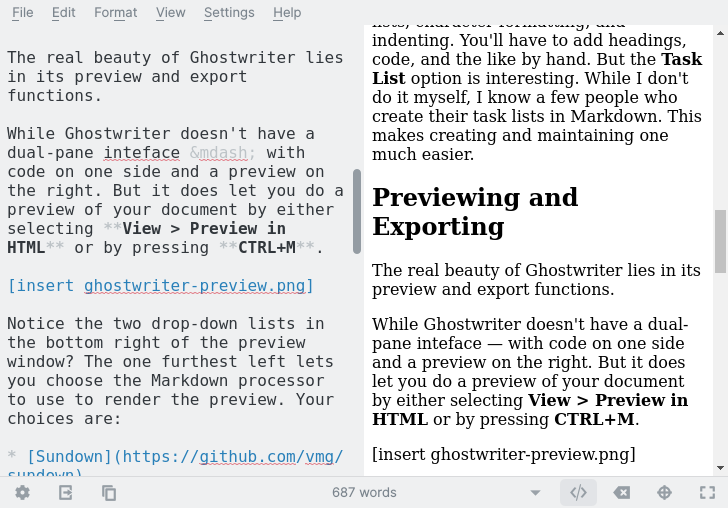 Previewing a document in Ghostwriter