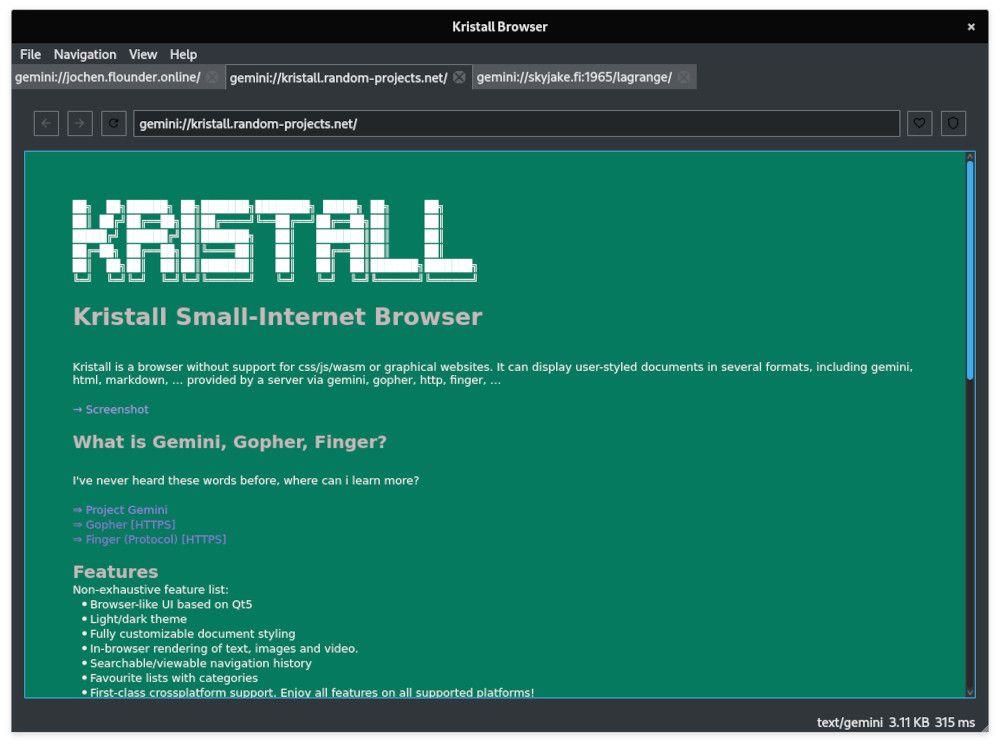 gemini kristall browser