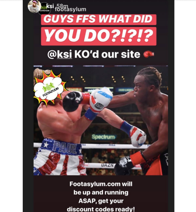 KSI instagram story to his followers when they broke the FA website