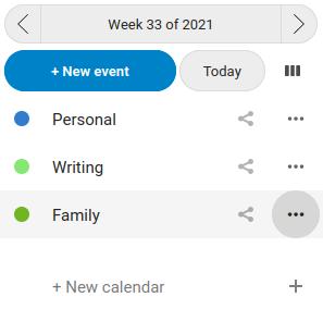 List of calendars in Nextcloud Calendar